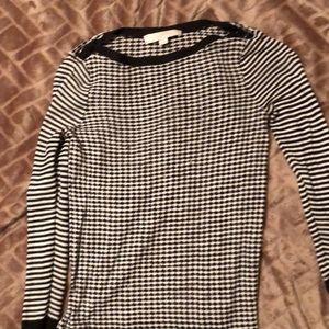 Sheer loft 3/4 black and white sweater